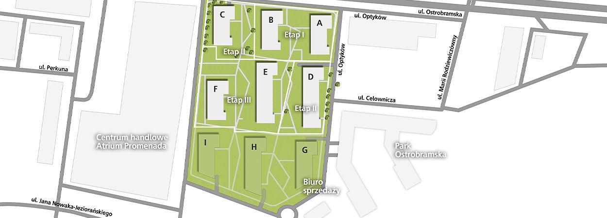 Plan osiedla Park Skandynawia w Warszawie